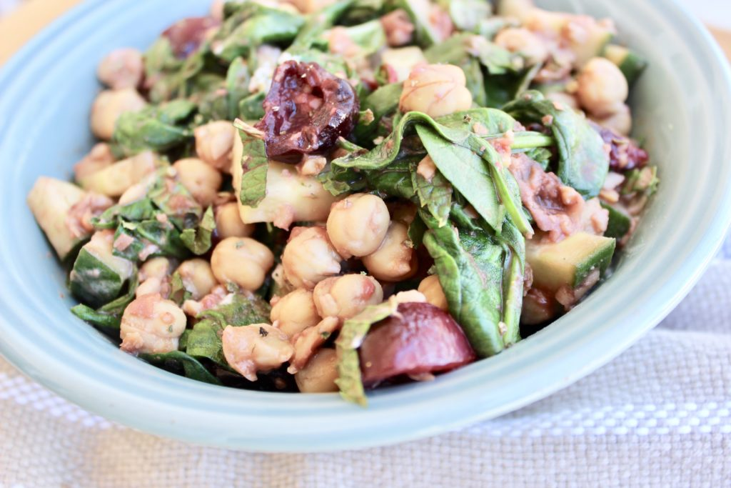 Chickpeas are the base of this colorful summer salad, which is packed with seasonal flavor.  Serve this simple Cherry-Balsamic Chickpea Salad as a delicious vegetarian side or light meal.