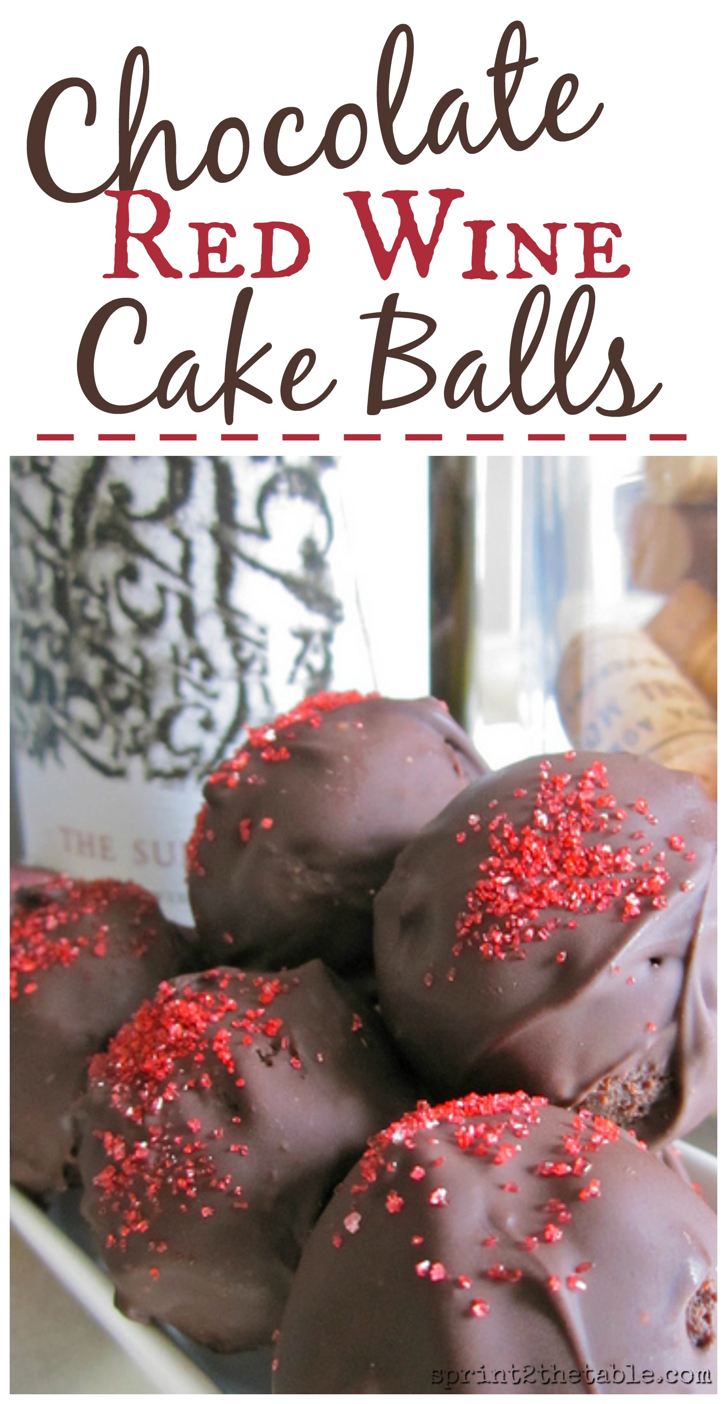These Chocolate Red Wine Cake Balls are the perfect sweet bite after dinner... with a little bit more wine, of course.