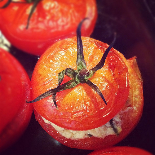 Vegan Goat Cheese Stuffed Oven-Roasted Tomatoes