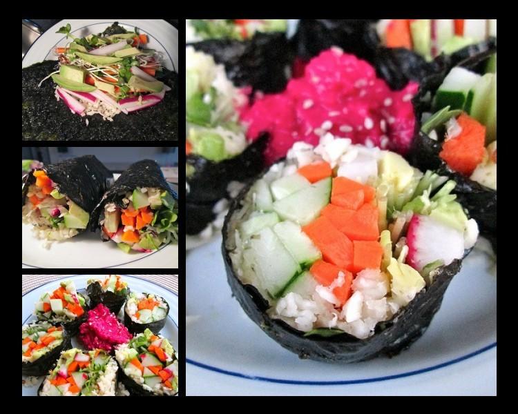 Veggie Sushi with Beet Wasabi Sauce