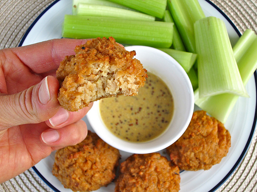 Chick-less Nuggets! These meat-free nuggest easy to make and high in protein thanks to TVP.