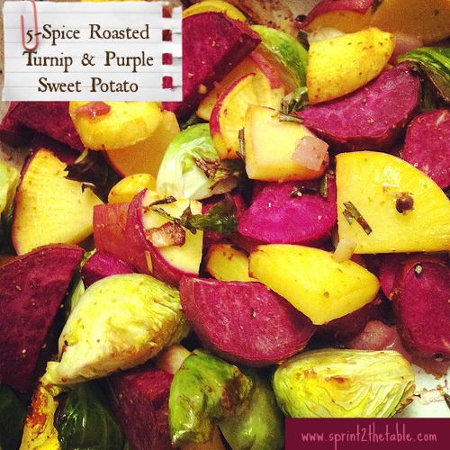 Five-Spice Roasted Turnips & Purple Sweet Potatoes