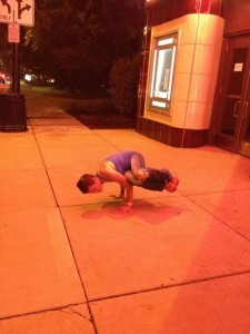 Do Yoga Poses Anywhere and everywhere - let people stare!
