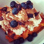 Sweet Potato, Cottage Cheese, Bacon, and Blueberries