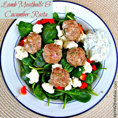 Lamb Meatballs and Cucumber Raita