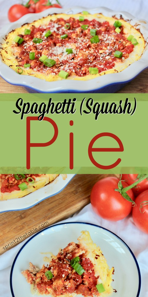 This Spaghetti Squash Pie is an easy and delicious re-make of a childhood comfort food. Spaghetti squash replaces the noodles for a gluten-free meal the whole family will enjoy!