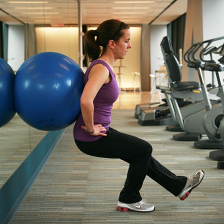 single leg ball squat