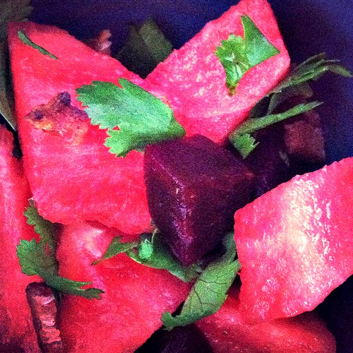 watermelon bacon & beet salad