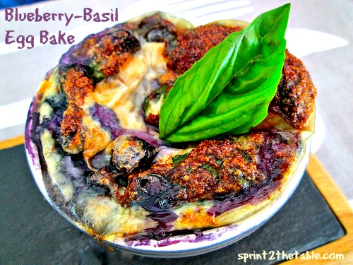 Blueberry-Basil Cottage Cheese Egg Bake