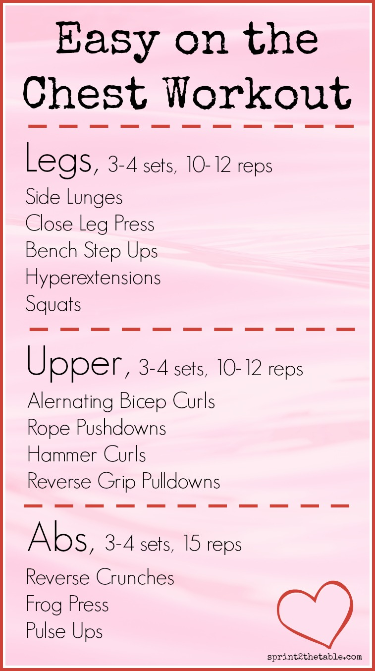 Looking for a workout that's a little less stressful on your chest after an augmentation or injury?  Try this routine!