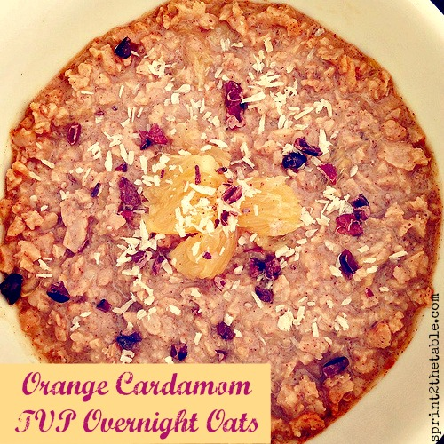 Orange Cardamom TVP Overnight Oats