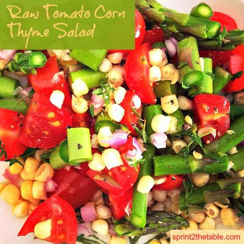 Raw Tomato Corn Thyme Salad