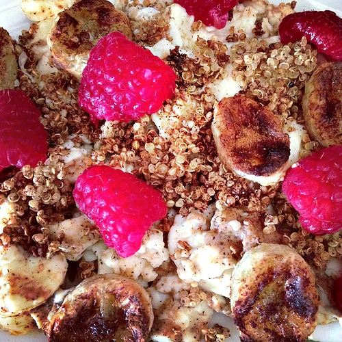 Cinnamon Toasted Quinoa, Caramelized Banana and PB Eggs with Raspberries