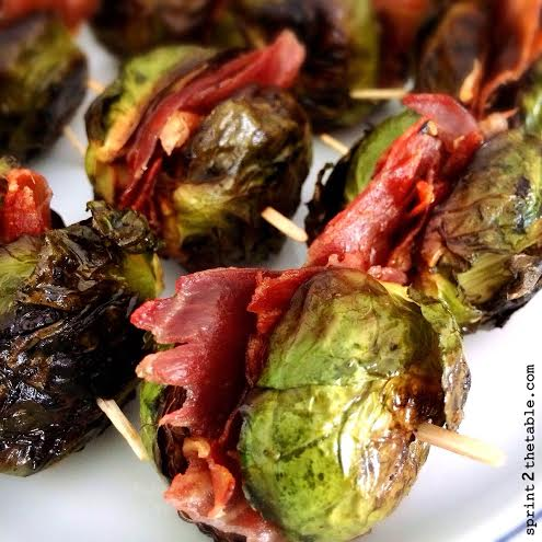 Brussels and Prosciutto Skewer