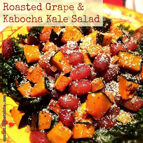 Roasted Grape & Kabocha Kale Salad