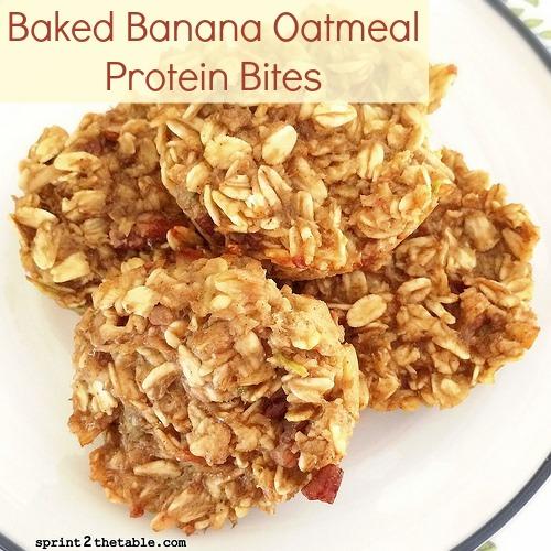 Baked Banana Oatmeal Protein Bites