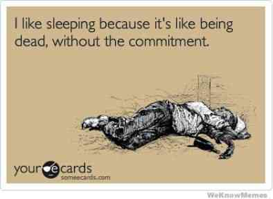 I like sleeping because it's like being dead without the commitment.
