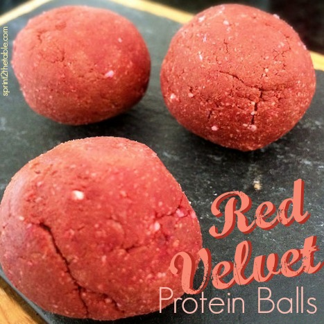 These red velvet-y protein delights are protein-packed and get their red tint from… beets! Perfect for a healthier Valentine's Day treat!