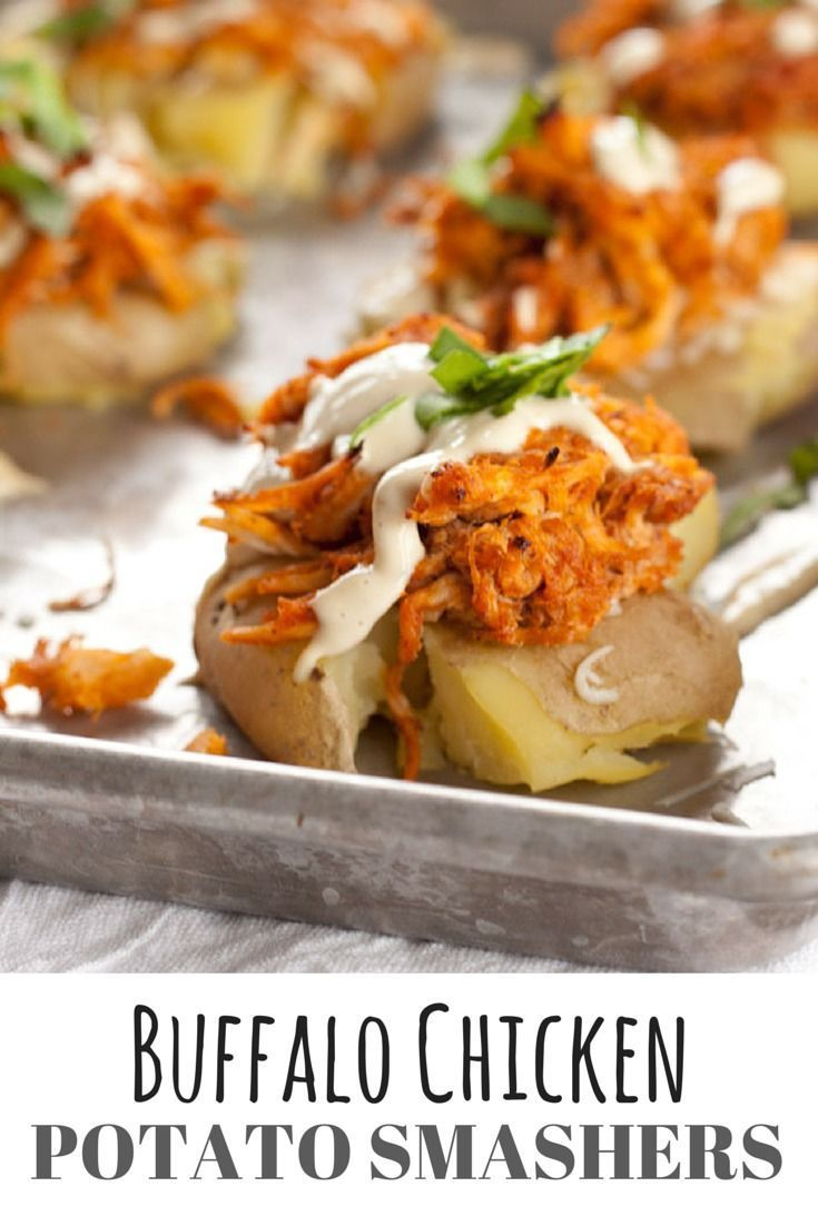 Buffalo Chicken Potato Smashers