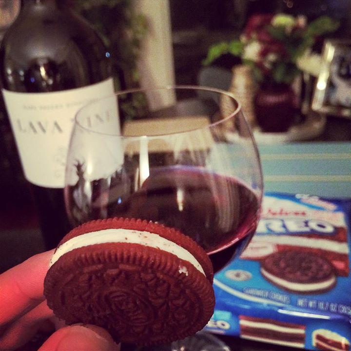 Red Velvet Oreos and wine