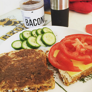 Bacon spread and tomato sandwich