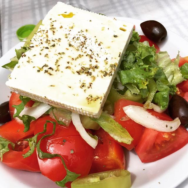 Entire blocks of fresh feta came atop every Greek Salad.