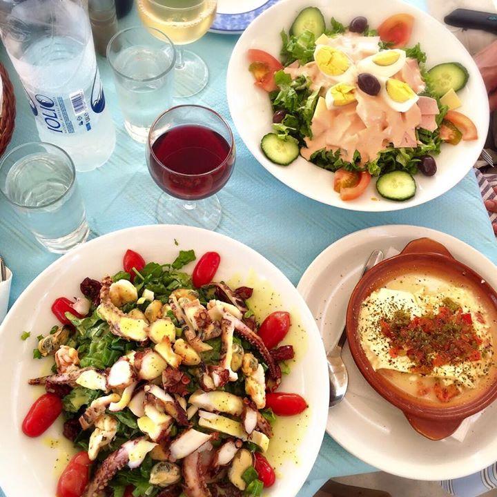 Seafood salad and feta in Oia