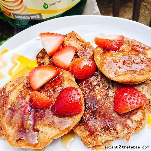 Strawberry Cinnamon Protein Pancakes
