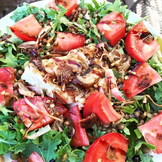 Swordfish lentil salad