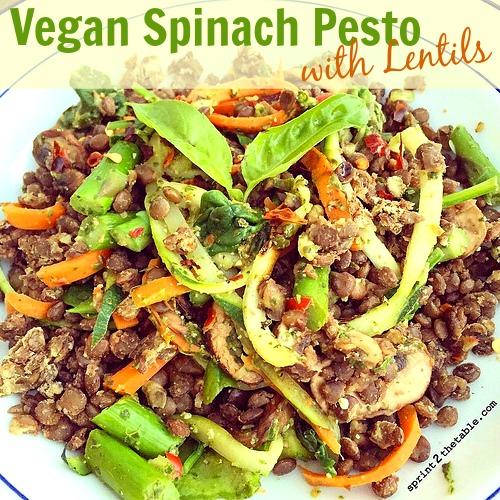 Vegan Spinach Pesto with Lentils