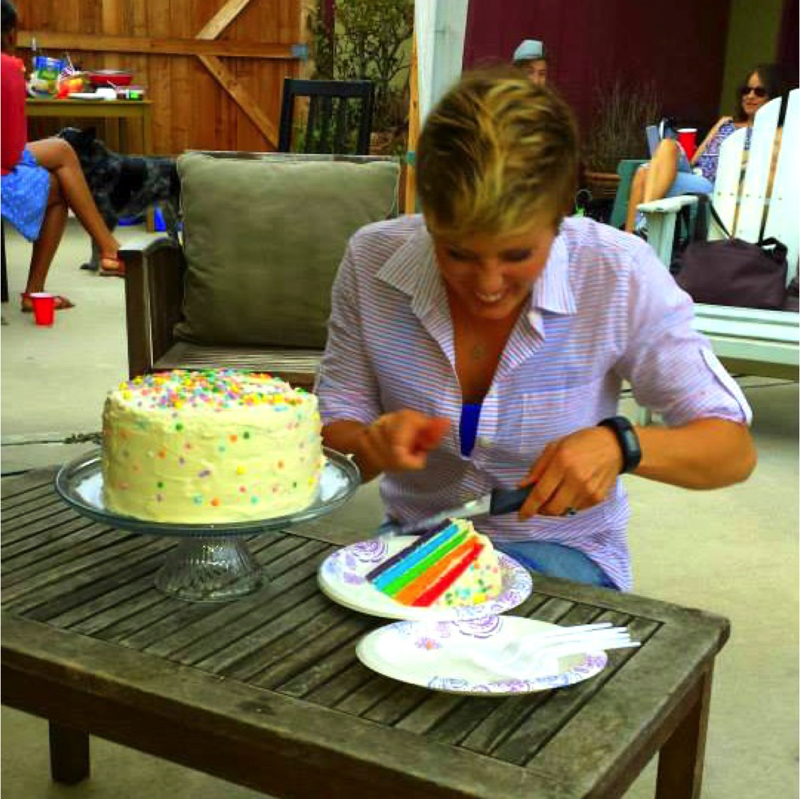 Rainbow cake cutting
