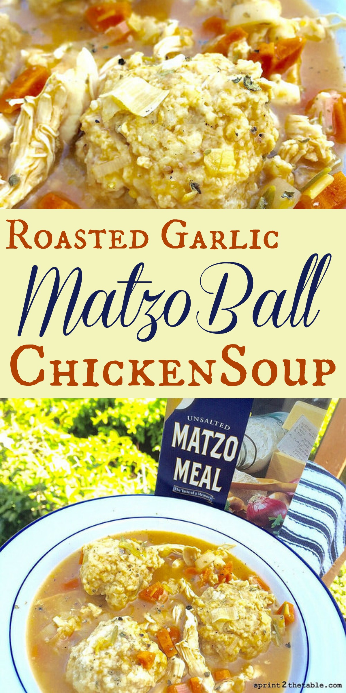 Matzo Soup is often referred to as Jewish Penicillin. This Roasted Garlic Matzo Ball Chicken Soup is based on the one my mom used to make for me.  It's the perfect cure whether you have a cold or are simply craving comfort food!