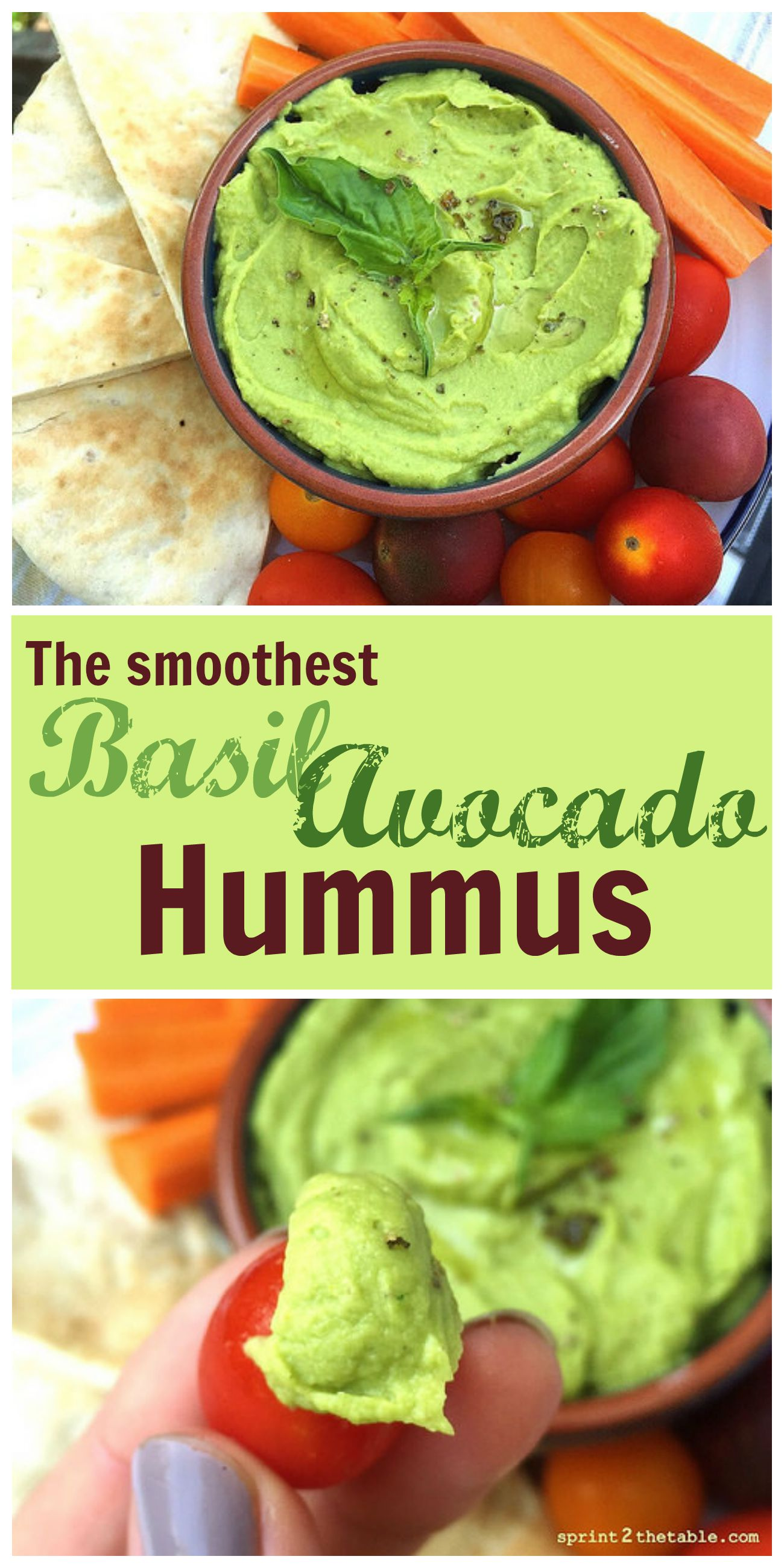 This Basil Avocado Hummus recipe will result in the creamiest homemade hummus you'll ever make! The secret for store-bought creamy hummus is below in this light and refreshing recipe.