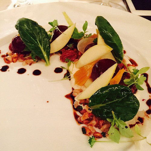 Roasted Beet Salad with tatsoi, apples, cinnamon creme fraiche, maple pecans, and toasted farro and oats