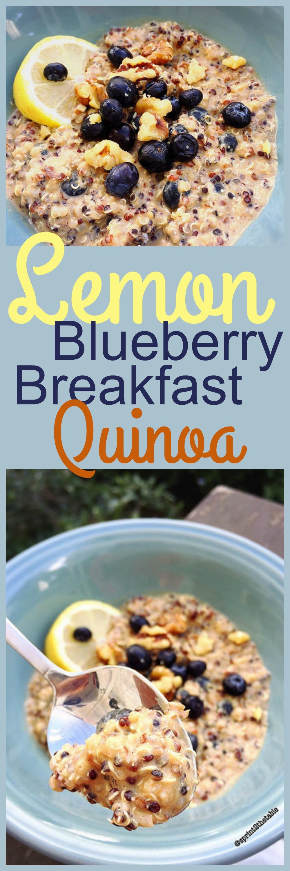 Lemon Blueberry Protein #GlutenFree Breakfast Quinoa