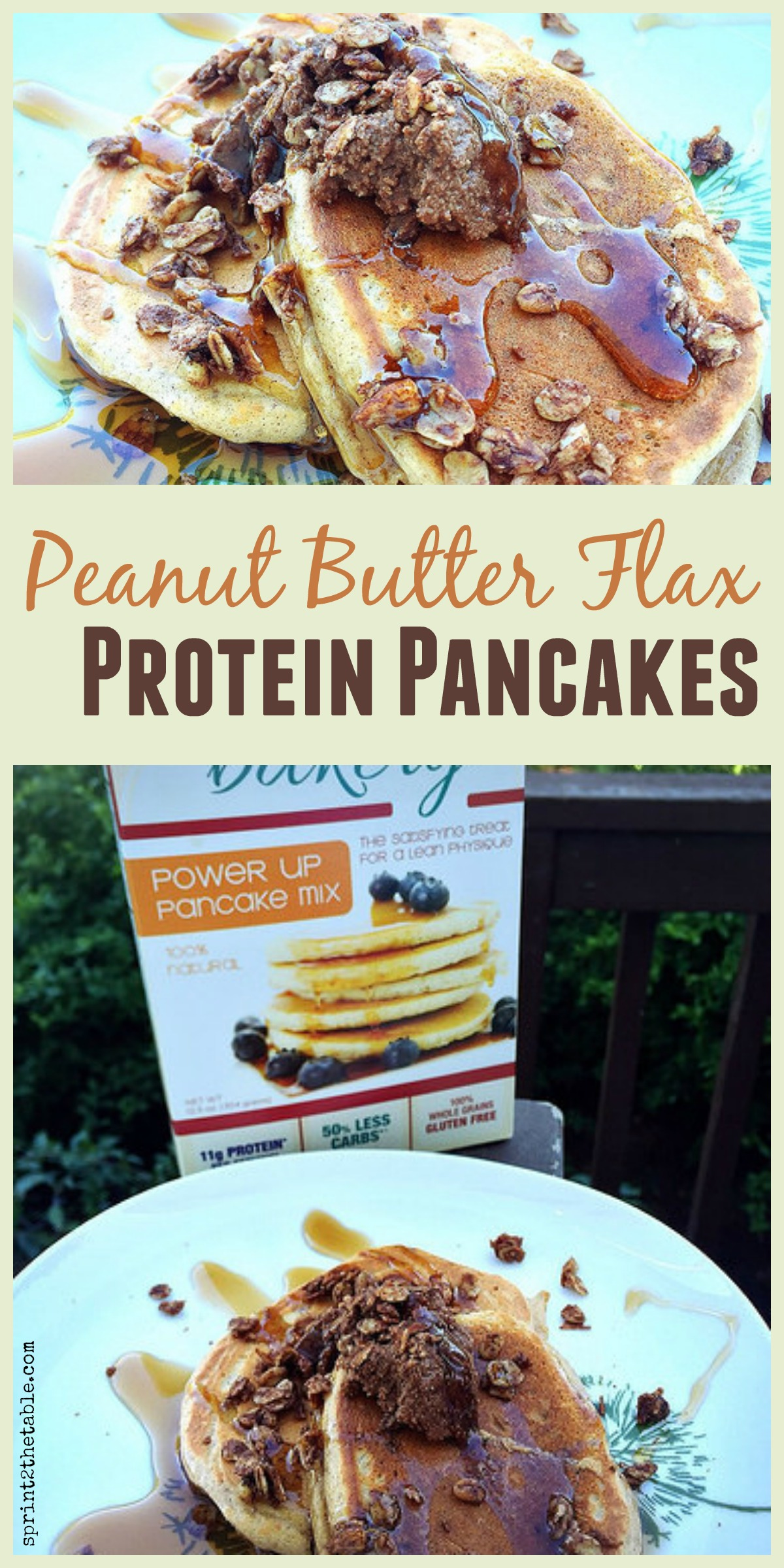 Unbelievable fluffy Peanut Butter Protein Pancakes... and they're made with a flax egg!