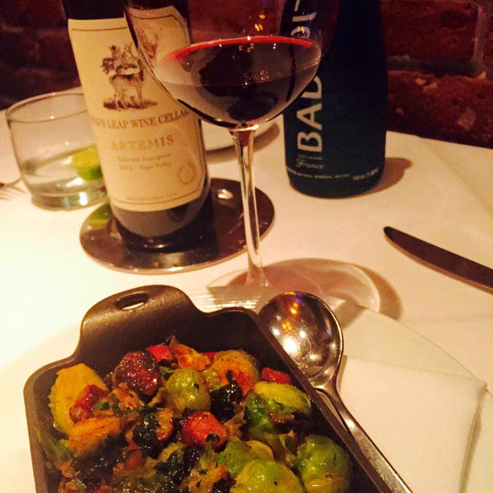 Can't go wring with bacon and brussels as an app. Stag's Leap wine is also a solid choice.