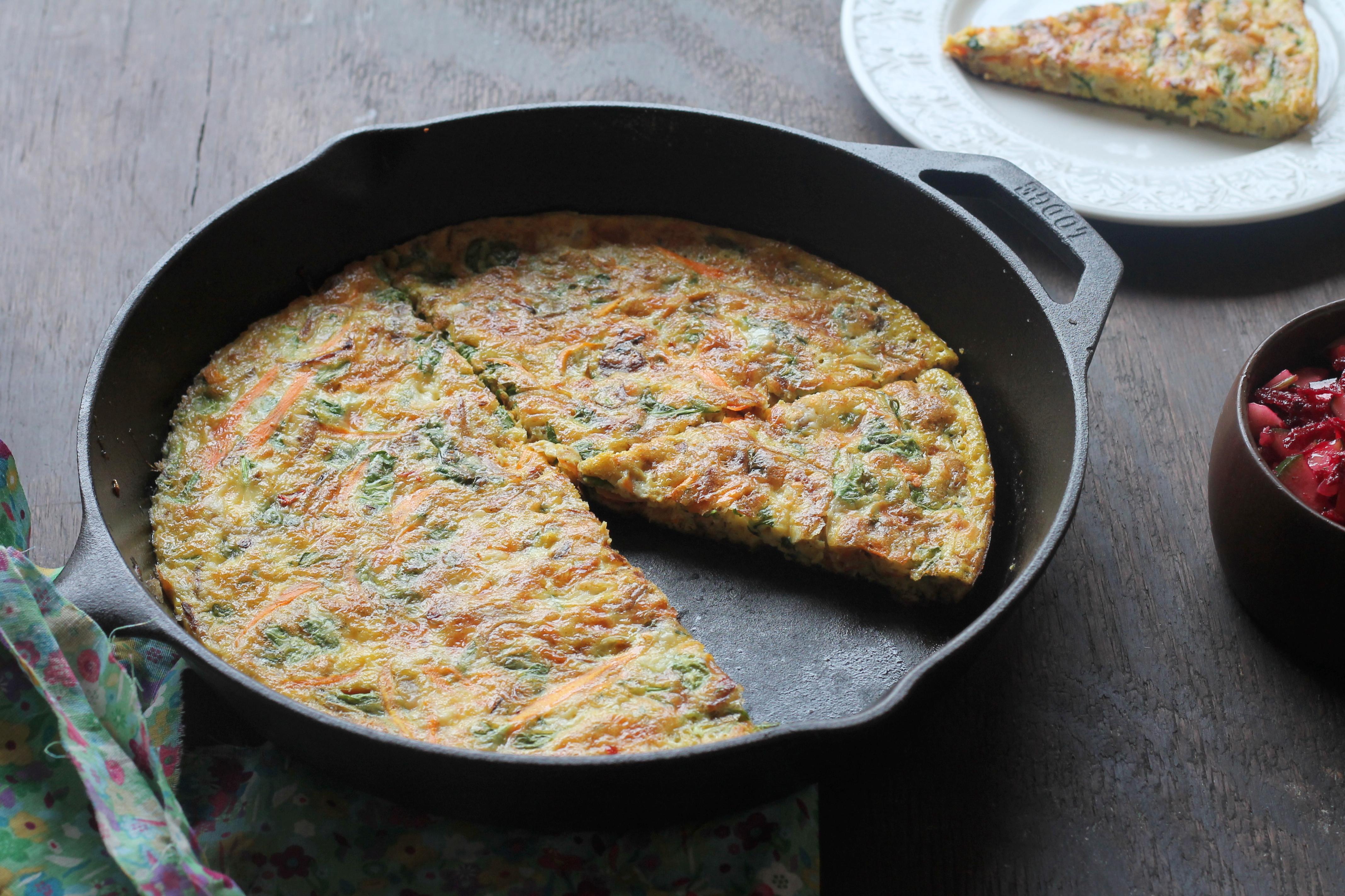 Kale Leek and Cheese Frittata