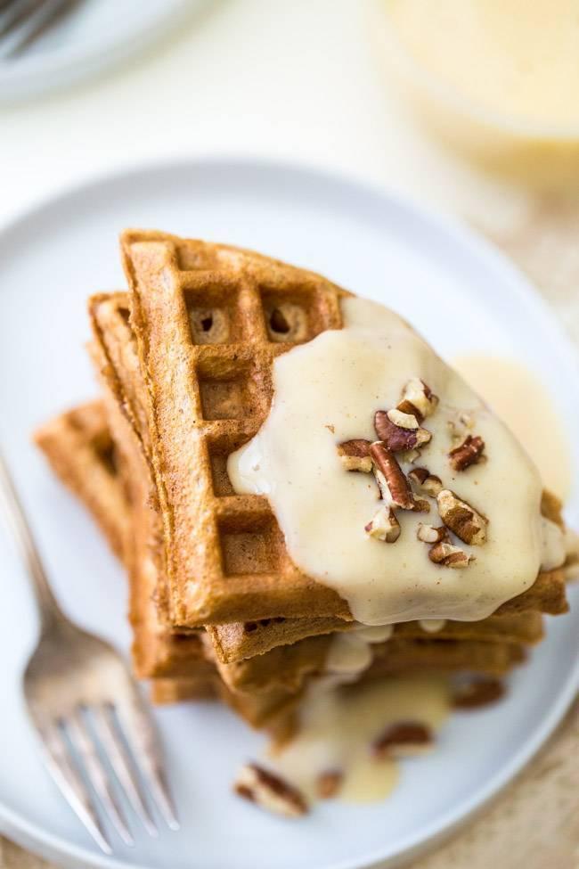 Waffles with Eggnog Cream Sauce