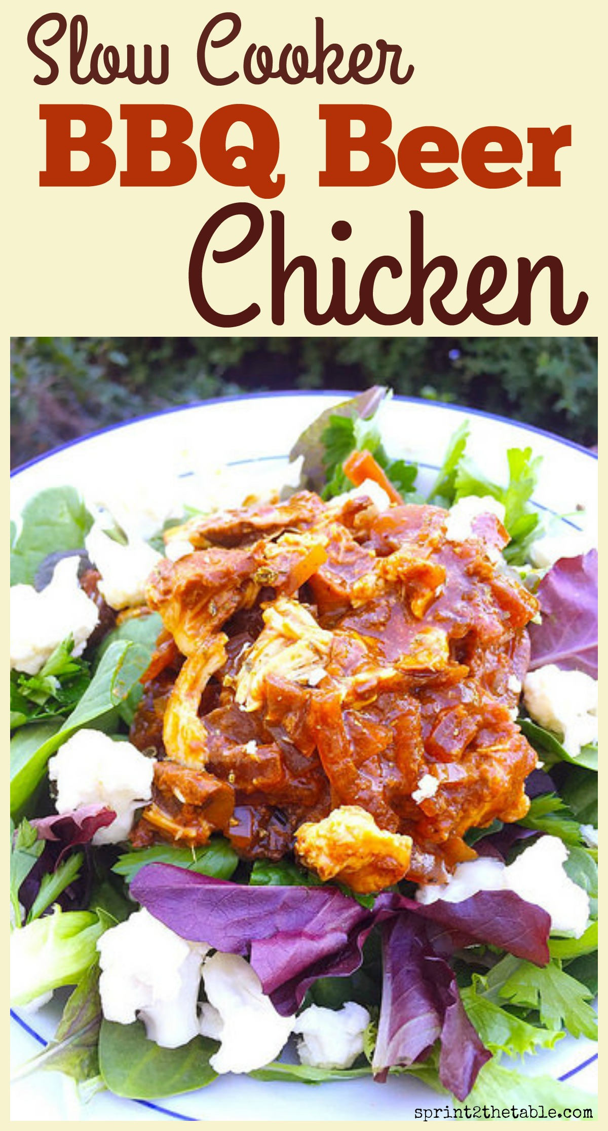 Slow Cooker BBQ Beer Chicken - quick and easy with just 6 ingredients