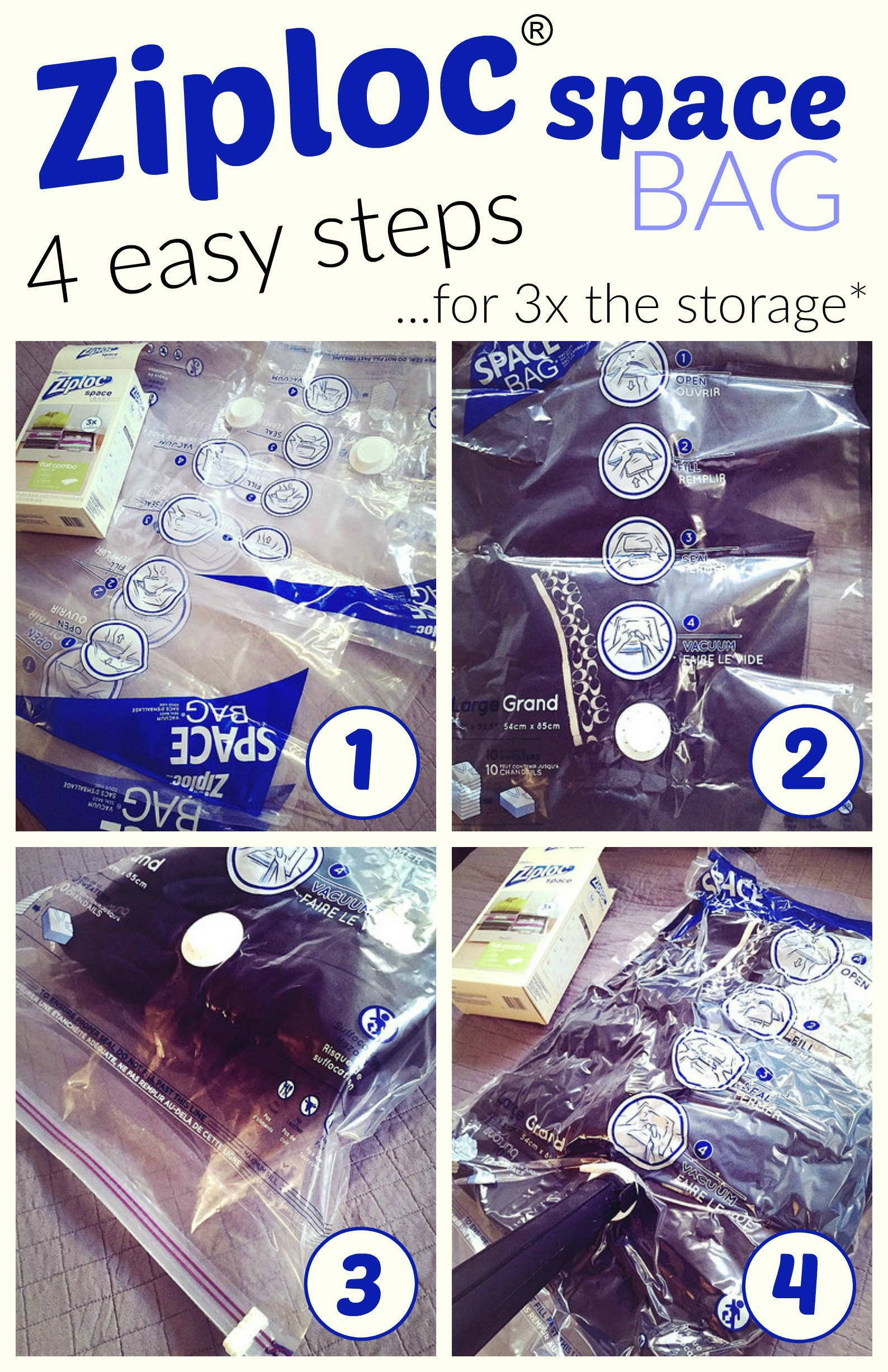 Ziploc Space Bags provide you 3x the storage space