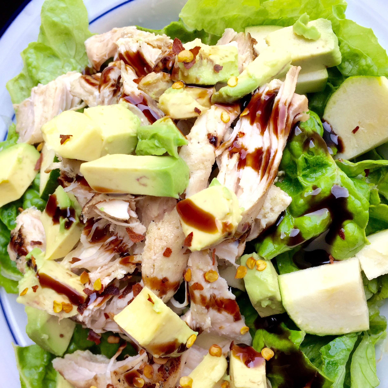 Chicken, avocado, zucchini salad