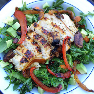 Quick and healthy marinade; make ahead for a Mediterranean-inspired dinner or lunch --> Grilled  Mediterranean Chicken Salad