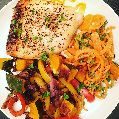 Turbot, grilled peppers, and carrot salad - fancy dinner for one!