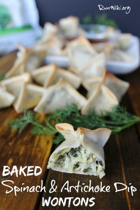 Baked Spinach & Artichoke Wontons