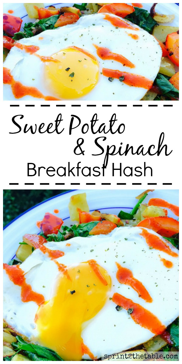 If you're a savory breakfast (or brinner) person, you must try this Sweet Potato & Spinach Breakfast Hash!