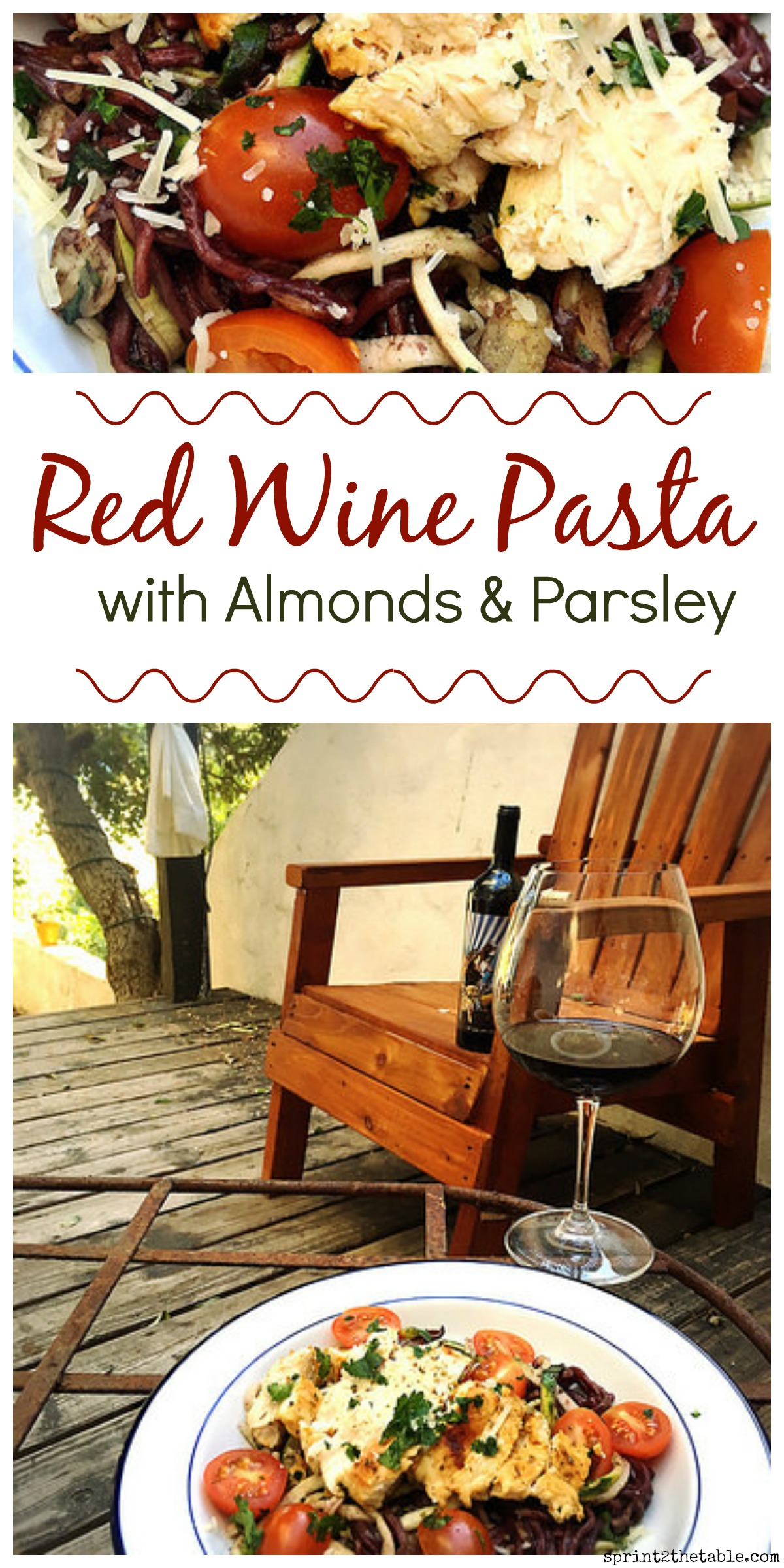 Red Wine Pasta with Almonds & Parsley. Just when you thought pasta couldn't get any better... try cooking it in red wine!