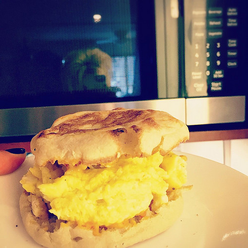 Making eggs in the microwave is incredibly easy. The eggs are really fluffy and make the perfect Egg McMuffin!