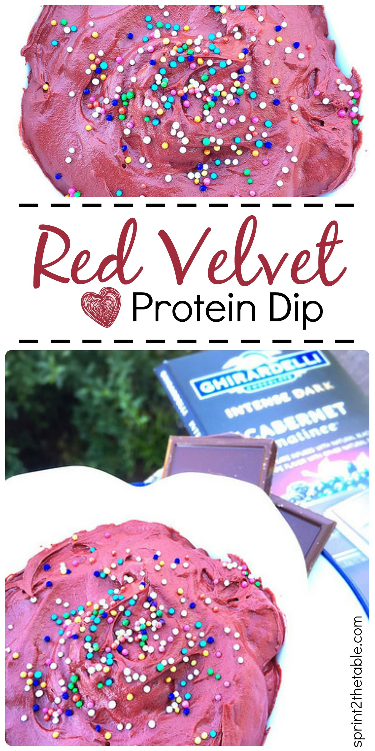 The perfect healthy dip for Valentine's or just because. This Red Velvet Protein Dip is done in less than 5 mins!