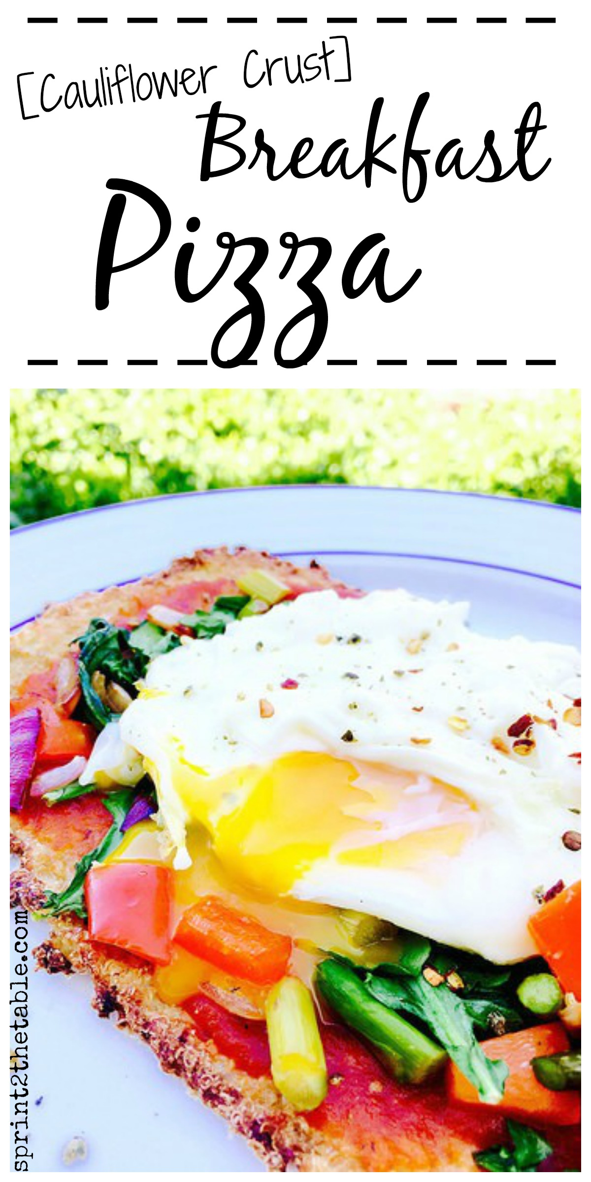 Cauliflower Crust Breakfast Pizza - delicious, gluten-free, and dairy-free... put an egg on it for instant brunch!